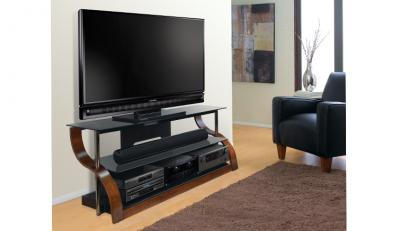 Bell'O Curved Wood A/V Furniture in Vibrant Espresso CW342